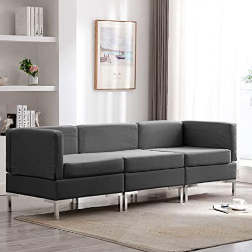 Nicoone 3-TLG. Sofagarnitur Middle SOFE Und Links Und Rechts Drehen Corner Sofa Modulares Sofa Wohnzimmerm?Bel Freizeit-Sofa Stoff Dunkelgrau
