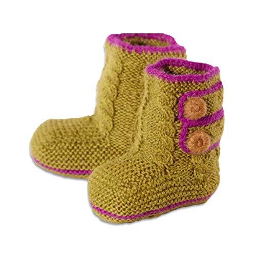 Chill n Feel Chill n Feel - Baby-Boots, 100% Baby Alpaka Wolle, Farbe grün, one size, Fairer Handel, Handmade, Handgestrickt