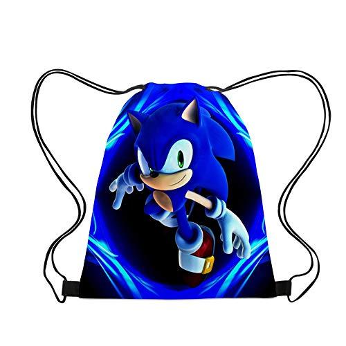 Sonic the Hedgehog Backpack para Niños Unisex de Dibujos Animados de Bolsa de Deporte Impermeable Bolsa de Gimnasio Mochila para Mujer
