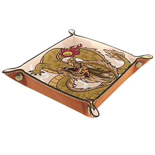 Bandeja de Valet Cuero para Hombres - Tatuaje De Dragón Marrón - Caja de Almacenamiento Escritorio o Aparador Organizador,Captura para Llaves,Teléfono,Billetera,Moneda