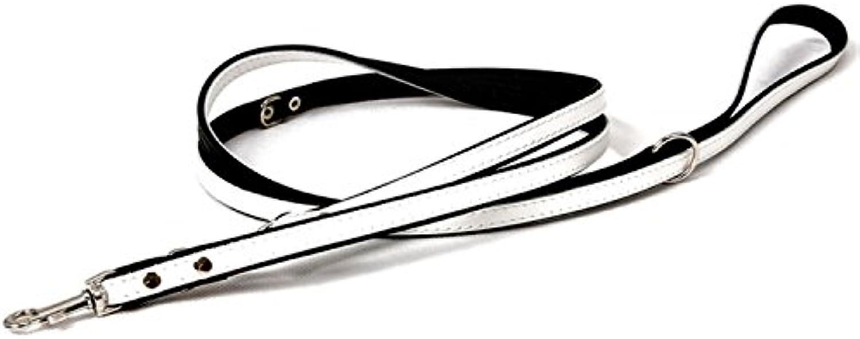 DogOne Leather leash Training Black White 220x1,2