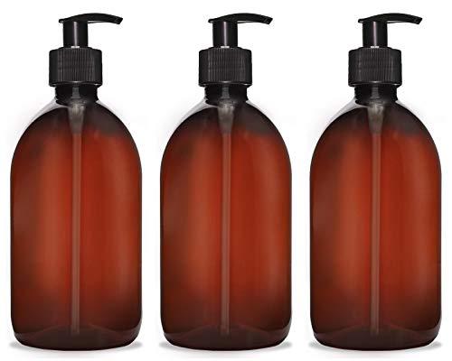 Octopus 3 dispensadores de jabón de 500 ml, dispensador de Crema para baño/Inodoro, Recargable, dispensador de Bomba dispensador de loción desinfectante para jabón líquido, champú, marrón/Negro
