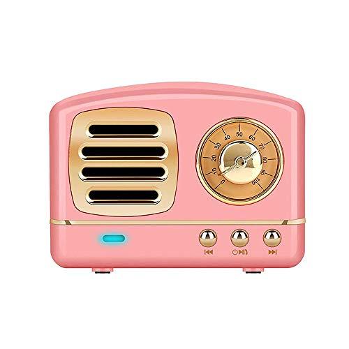 レトロなブルートゥース スピーカーミニヴィンテージラジオ(Bluetooth 4.1 / Uディスク/TFカード/AUX入力/USB充電/ 3Dステレオをサポート)クラシックな小さなレトロスピーカーBluetoothラジオ,ピンク