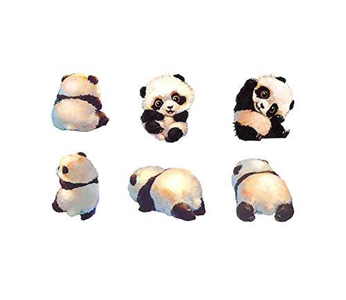 3 feuilles de petit panda super mignon autocollants de tatouage temporaire bébé Body Art faux tatouages