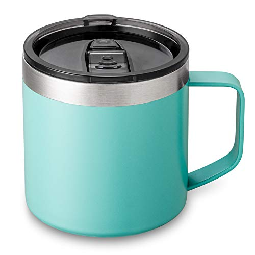 Lafaso 14 oz Coffee Mug Cup with Handle,Vacuum Insulated Coffee Mug with Sliding Lid, Double Wall Stainless Steel Travel Tumbler Mug (Teal, 1 Pack)