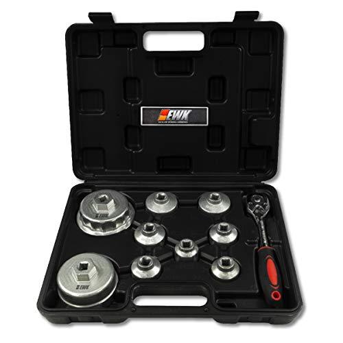 EWK 10 Pcs Oil Filter Wrench Socket Set for Canister Cartridge Style Filter Cap for Toyota, BMW, Mercedes, Mini Cooper,...