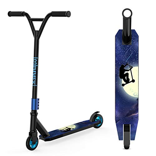 IMMEK Stunt Scooter Teenager Trick Roller Robuster Funscooter 360° Lenkung Sports mit ABEC-9 Kugellagern und 100 mm Aluminium Wheels für Kinder ab 6 Jahre Maximale Belastung von 100 kg (Schwarz)