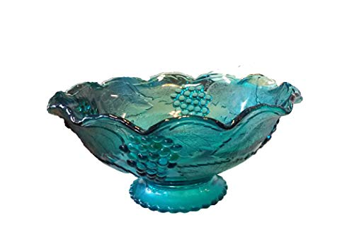 Vintage Blue Glass Grapes & Leaves Pattern Pedestal Bowl With Scalloped Edges