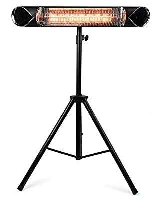 Briza Carbon Infrared Heater - Patio Heater - Shop Heater - Indoor/Outdoor Heater - Wall Heater - Stand Heater - 1500W - Comes with Stand - Mount to Ceiling/Wall
