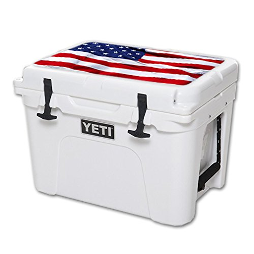 MightySkins (Cooler Not Included) Skin Compatible with YETI Tundra 35 qt Cooler Lid wrap Cover Sticker Skins American Flag