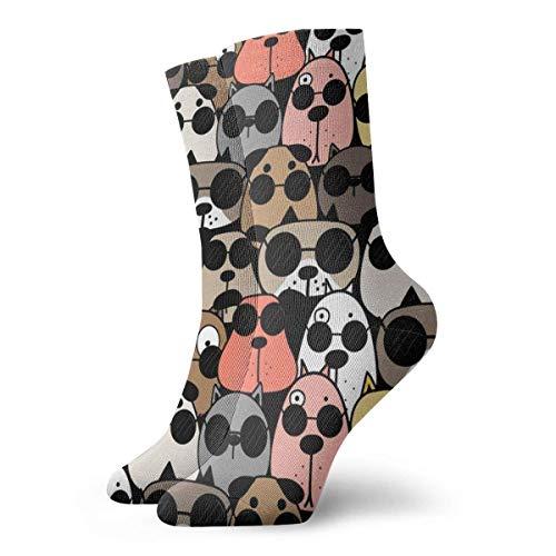 winterwang Calcetines cmodos unisex de perros frescos dibujados a mano Calcetines deportivos casuales Calcetines novedosos