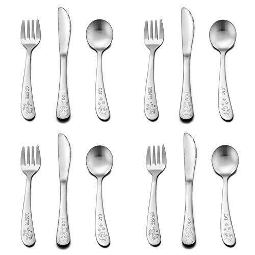12 Piece Toddler Baby Silverware Set, E-far Stainless Steel Kids Safe Utensils, Training Metal Child Flatware Cutlery Set, Include 4 Small Spoons, 4 Forks, 4 Knives - Dishwasher Safe