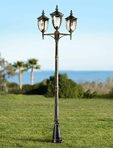 Bellagio Traditional Outdoor Post Light Street Lantern 3 Light Veranda Bronze 96' Clear Hammered Glass for Exterior Garden Yard Driveway - John Timberland