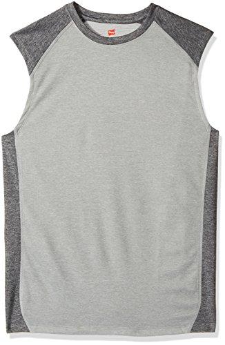 Hanes Men's Sport Performance Muscle Tee, Oxford Grey Heather/Granite Heather, XX-Large