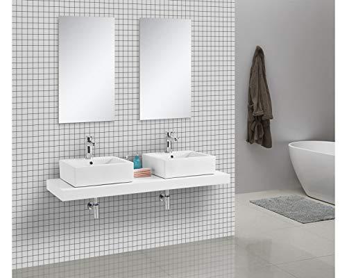 Waschtischkonsole OCEAN 150 x 50 cm Echtholz weiß, Badezimmer Badmöbel Waschbecken Bad Waschtisch Echtholz