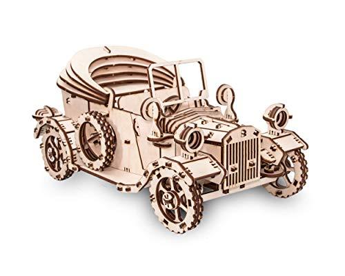 EWA Eco-Wood-Art 4347141397 EWA EcoWoodArt 3D Holzpuzzle für Jugendliche und Erwachsene-Mechanisches altes Automodell-Retroauto DIY-Bausatzt, Selbstmontage, kein Kleber erforderlich
