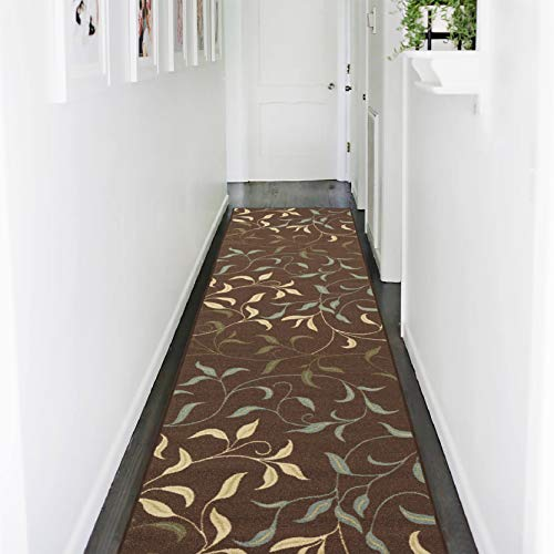 """Ottomanson Ottohome Collection Contemporary Leaves Design Modern Hallway Runner Rug, 2'7"""" W X 9'10"""" L, Chocolate"""
