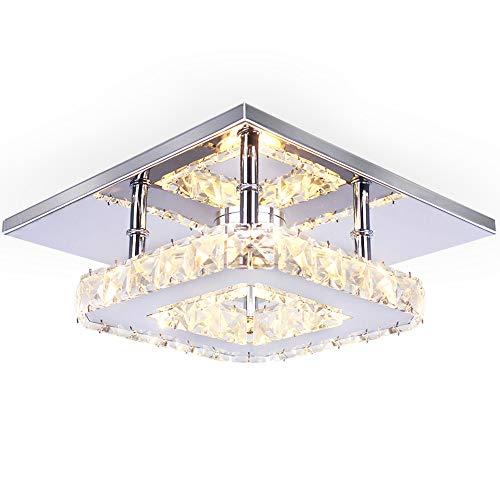 Semi Mini modernas lámparas de araña de cristal candelabro de pared montaje empotrado techo luz cristal foco empotrable D11H 5, color blanco cálido
