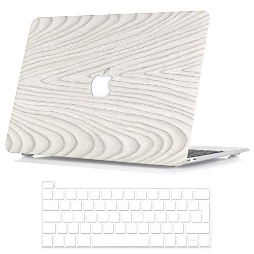 BELK Compatible with MacBook Pro 13 inch Case 2020 2019 2018 2017 2016 with/without Touch Bar A2338 M1 A2289 A2251 A2159 A1989 A1706 A1708, Wood Pattern Hard Protective Shell & Keyboard Cover, White