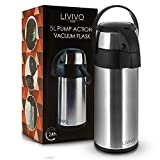LIVIVO Pump Action Vacuum Air Pot Flask in Brushed Stainless Steel for Hot or Cold Drinks and Soups etc (Silver, 5L)
