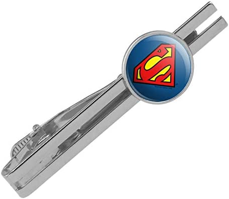 GRAPHICS MORE Superman Classic S Shield Logo Round Tie Bar Clip Clasp Tack Silver Color Plated product image