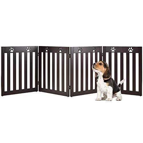 COSTWAY Cancelletto di Sicurezza Pieghevole, Barriera per Animali Domestici, in Legno, 4 Pannelli, 203 x 60 x 1,5 cm (Marrone)