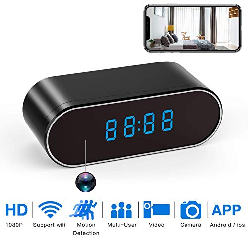 Yangsanjin 1080P Mini-camera, wifi, wekker, nachtzicht, nanny, camera, bewegingsmelder, bewaking in real-time thuis of op kantoor