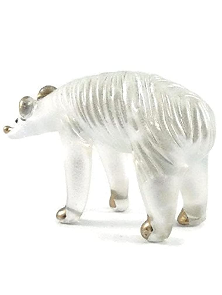 TINY CRYSTAL BEAR HAND BLOWN CLEAR GLASS ART BEAR FIGURINE ANIMALS COLLECTION GLASS BLOWN