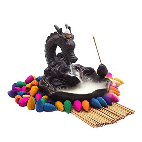 Dragon Incense Holders Ceramic Backflow Handcraft Incense Burner with 40 Pcs Incense Cone and 50 Pcs Incense Sticks