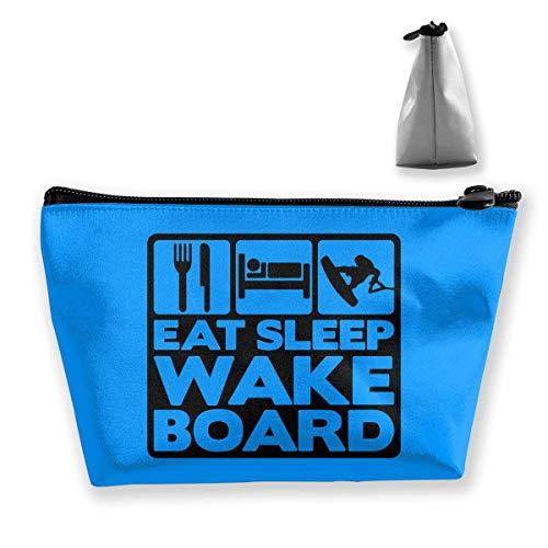 Eat Sleep Wakeboard Portable Maquillage Réception Sac de Rangement avec Grande Capacité Main Travel Wash Bag