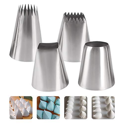 Teyiwei - Juego de 4 boquillas para pasteles decorados de acero inoxidable