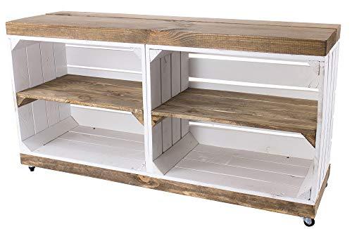 Obstkisten-online 1x Sideboard WEIß aus Holz, braune Regalbretter, auf Rollen mit 4 Fächern - NEU - 100x30x50 cm - idealer TV Schrank/Bank