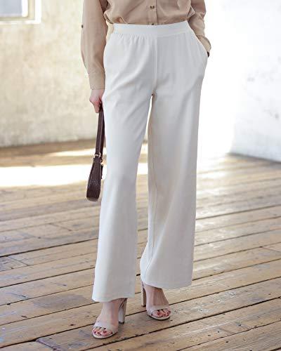 The Drop Pantalones para Mujer, de Canalé y Pernera Ancha, sin Cierre, Blanco Whisper, por @asahina_aya