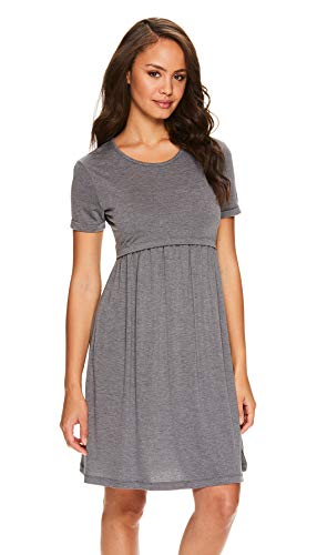 Lamaze Womens Maternity Labor and Delivery Gown Nursing Nightgowns for Breastfeeding (Charcoal Heather, Large)