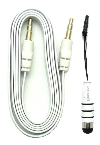 Emartbuy® Aux Packfür Allview X2 Soul Pro / Allview V1 Viper L - Weiß Metallic Mini Eingabestift + Weiß FlachAnti-TanglezusätzlichesStereo3,5 mm Stecker