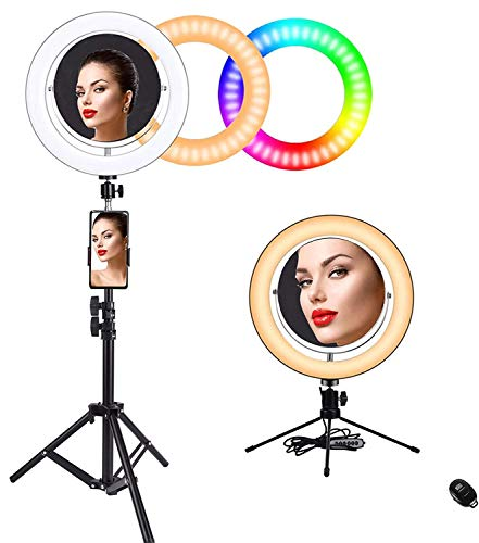"10"" RGB Ring Light with Rotatable and Detachable Double-Side Makeup Mirror,1X 2X Magnification Selfie Ring Light with Two Tripod Stand and Phone Holder for Photography/Makeup/Vlogging/Live Streaming"