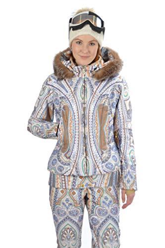 Stayer Winterjas, ski-jack, thermojack, dames met echte bont, ademend, waterdicht, ornamenten patroon