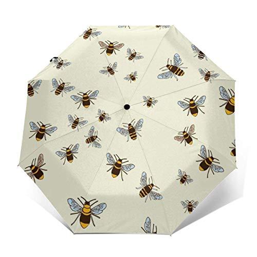 Paraguas plegable resistente al viento, protección UV, paraguas compacto para viajes al aire libre, uso diario, abejas en color crema