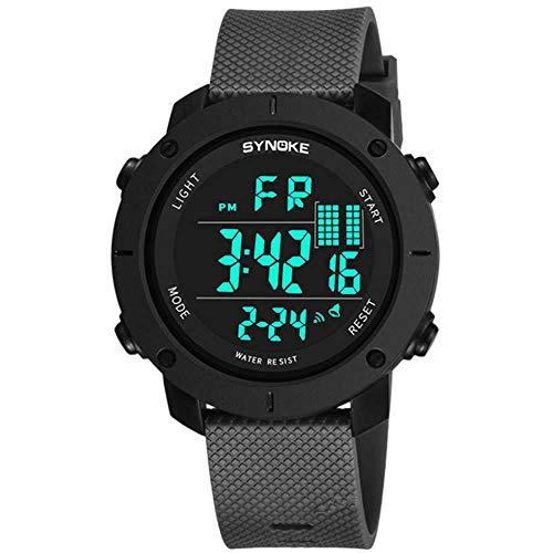 WSSVAN Al aire libre multifunción para hombre reloj deportivo digital pantalla LED de gran dial mesa militar doble acción impermeable luminosa reloj militar simple alarma (Gris)