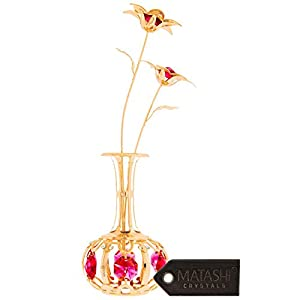 Matashi Sunflowers in vase Ornament Crafted with Stunning Multi Color Crystals