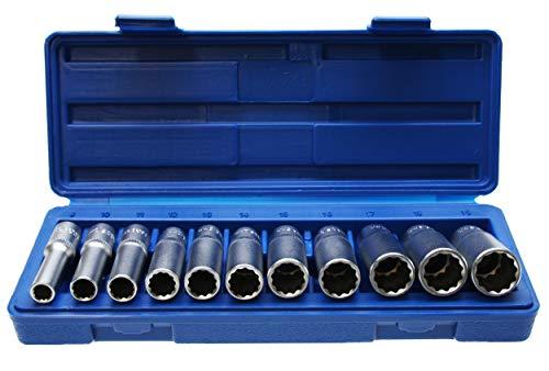 """Lange 12-KANT/Zwölfkant Vielzahn (Doppel-Sechskant/Doppel-6-kant) Steckschlüsseleinsätze Schraubenschlüssel Stecknuss 3/8"""" 8-19 mm - Chrom-Vanadium-Stahl - 11-tlg. Inkl. robuste Kunststoffbox"""