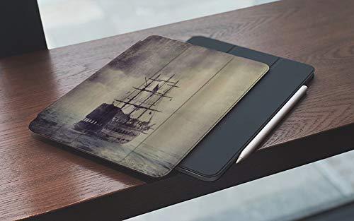 MEMETARO iPad 10.2 Pouces 7ème Génération 2019 de qualité supérieure, Nautique Vieux Bateau Pirate dans la mer croisière Historique rétro Voyage Grunge Sty Housse Étui avec Veille/Réveil Automatique