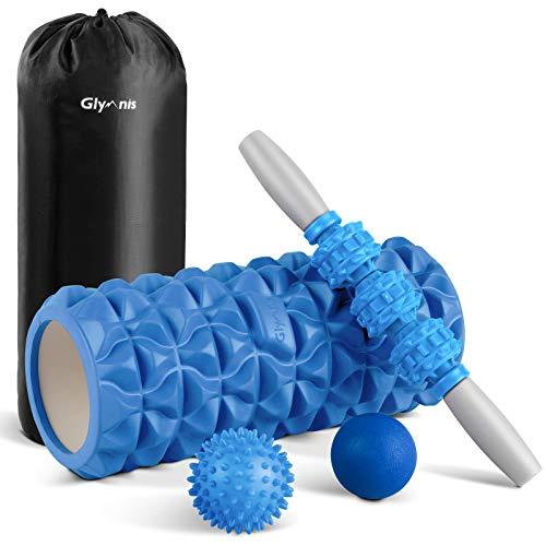 Glymnis Faszienrolle Set Foam Roller 4 in 1 Faszien Set mit Schaumstoffrolle Massageroller Massagebälle für Faszientraining Yoga Sport Fitness Pilates (Blau)