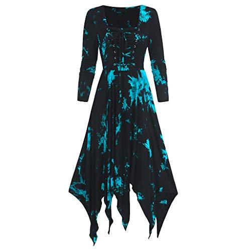 Dasongff Vestido de mujer vintage rockabilly de manga larga de noche para mujer con estampado en A, vestido de fiesta irregular Cosplay Cosplay Punk Lolita Medieval sin hombros