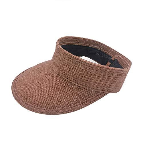 WXZZ Damen Mode Prägnanz Breiter rollbarer Zeichenhut Sommer Outdoor-Sonnenhut Lässige Strandhut Kopfbedeckung Damen Strand (Kaffee)