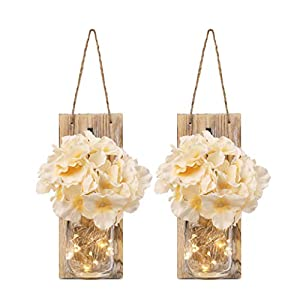 GBtroo Rustic Mason Jar Sconces for Home Decor 6 Hours Timer Decorative Flower Wall Decor with LED Strip Lights, Silk Hydrangea, and Wrought Iron Hooks for House Decoration (Set of 2), Brown