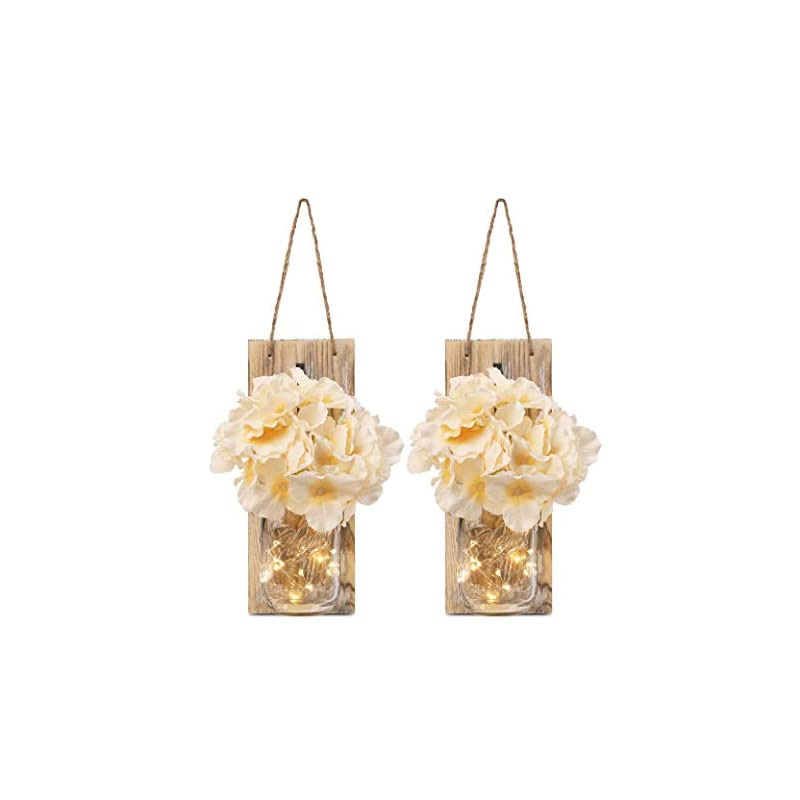 silk flower arrangements gbtroo rustic mason jar sconces for home decor 6 hours timer decorative flower wall decor with led strip lights, silk hydrangea, and wrought iron hooks for house decoration (set of 2), brown
