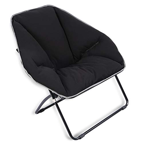 REDCAMP Dorm Saucer Chair, Folding Dish Chair for Teens Youth Boys Girls, Black 34x23.6x17 Inches