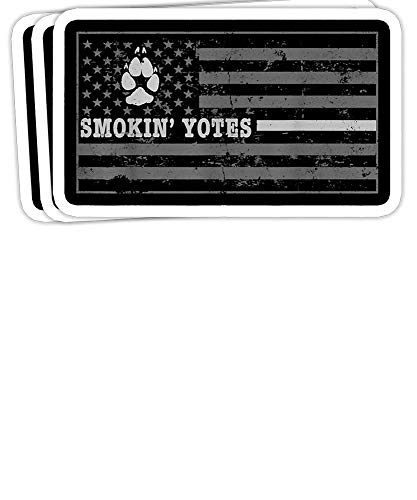 Coyote Hunting Smokin Yotes American Flag Yote Hunting Gift Decorations - 4x3 Vinyl Stickers, Laptop Decal, Water Bottle Sticker (Set of 3)