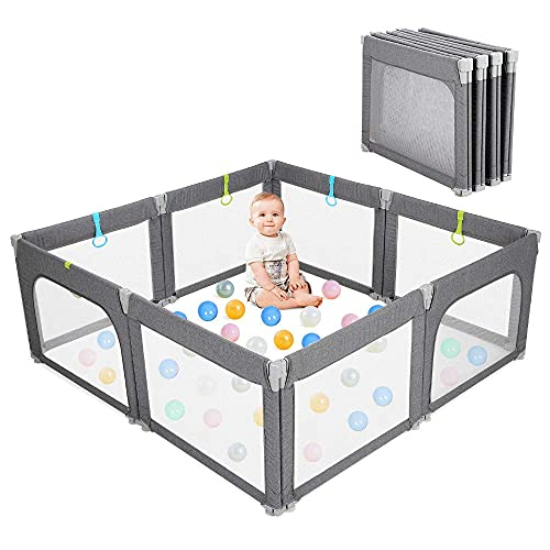 Baby Playpen Portable Kids Safety Play Center Yard Home Indoor Fence Anti-Fall Play Pen, Playpens for Babies, Extra Large Playard, Anti-Fall Playpen